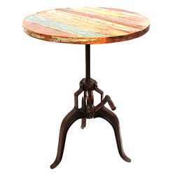 Black Wooden Cast Iron Industrial Restaurant Adjustable Round Dining Table, For Hotel