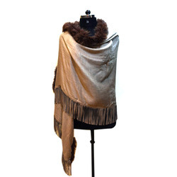 Fox Fur and Suede Fringed Scarf