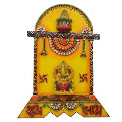 Wooden & Paper Mache Ganesha Temple Shubh Labh with Kundan
