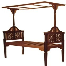 Brown Teakwood And Rosewood Arts & Crafts Style Bed