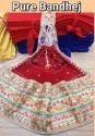 Marwari Red Hand Color Embellished Marwari Designer Pure Bandhej Chunri Stole Dupatta