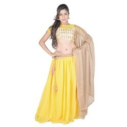 Georgette Yellow Lehenga Choli