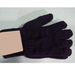 Blue Cotton Knitted Gloves