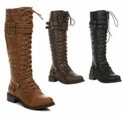 Brown Black Ladies Leather Boot