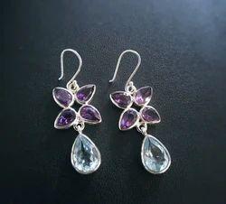 Women and Jewels Blue Gemstone Flower Earrings, Size: 4cm