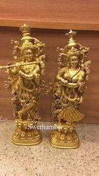 Radha Krishna Brass Statue