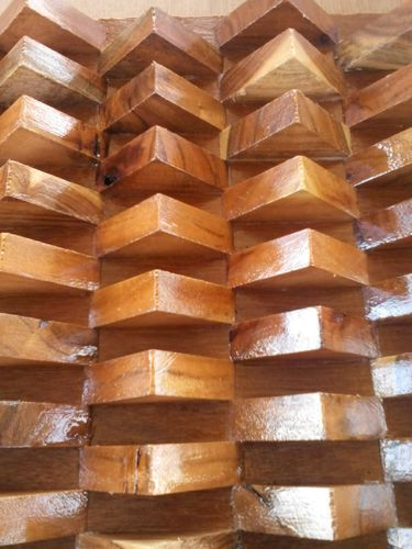 Wood Wall Cladding: Solid Wood 3D Wall Panel 004 At Rs 350 /square Feet