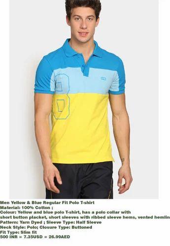 c233be05a2e7f Men Premium Polo Yellow & Blue Regular Fit Polo T Shirt - The ...