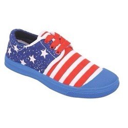 Lace On Kayvee Footwear Red Blue Canvas Shoes