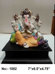 Multicolor Glossy Finish Polyresin Ganesh Statue, Table, Temple, Model Number: S/1002