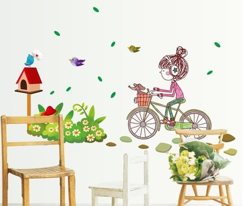 little girl on cycle wall sticker at rs 299 /piece(s) | wall