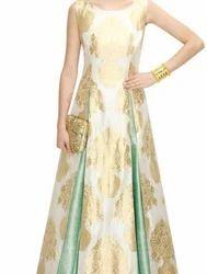 Golden Brocade Long Kurti With Skirt