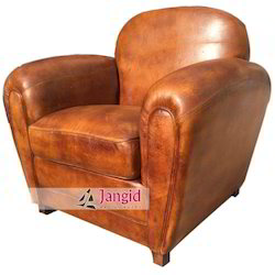 Modern Brown Vintage Leather Sofa, Seating Capacity: Single Seater, Living Room