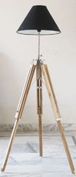 Beautiful Designer Premium Teak Wooden Tripod Floor Lamp Shade