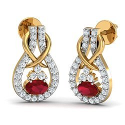 Red Stone Gold Diamond Earring