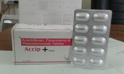 Aceclofenac 100mg, Paracetamol 325mg, Thiocolchicoside 4mg