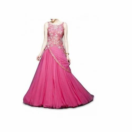 fe81d30eeadb Western Pink Designer Party Wear Gown