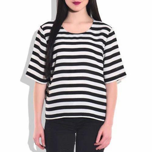 560b503fb07f6 Women Polyester Zebra Print Casual Top