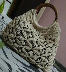 Off- White Macrame Ladies Handbag