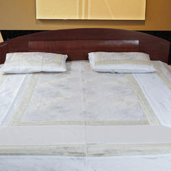 Embroidery White Bed Cover