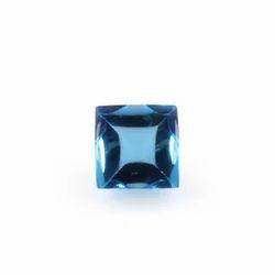 Blue Topaz Stone Buff Top Square Loose Cut