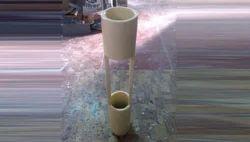 Off White Ikebana Fiberglass Planter, Size: 20x20x48 Inch