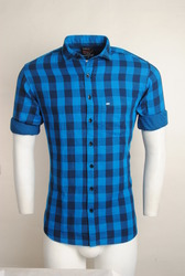 Blue Checked Men Casual Shirt