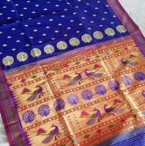 Pure Silk Paithani Saree, 6.3 m (with blouse piece)