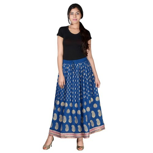 Jaipuri Print Rayon Long Skirt