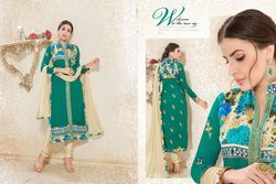 Ladies Fancy Embroidered Green Suit