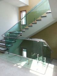 Silver Color Stainless Steel Glass Railing
