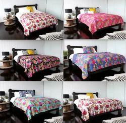 Fruit Print Kantha Quilt Floral Kantha Bed Cover