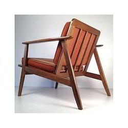 Jangid Art & Crafts Brown Wooden Lounge Chair for Hotel