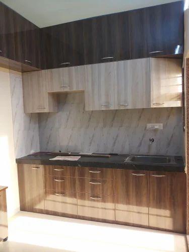 Walnut Colour Plywood Finish Modular Kitchen Rs 120000 Set Id