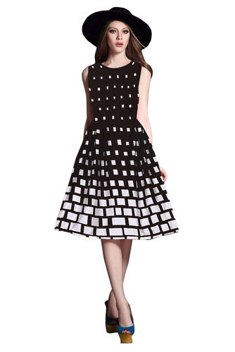 Black And White Japan Satin Designer New Western Wear Frock 868cc27ea