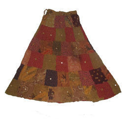 Printed Patchwork Mirror Embroidery Skirts