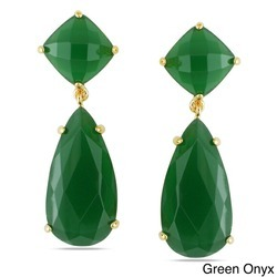 Green Onyx Gemstone Prong Set Earrings