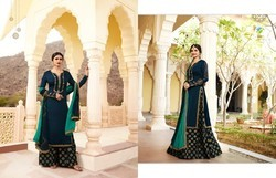 Vinay Fashion's Upcoming Georgette Satin Fabric Embroidery Work Partywear Salwar Kameez.