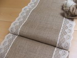 White Lace Burlap Table Runner