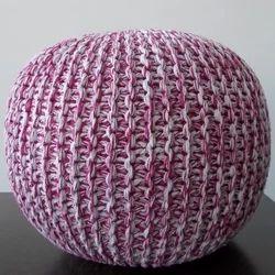 Fuschia Knitted Pouf