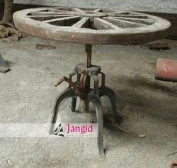 Wood,Iron Round Vintage Industrial Crank Table