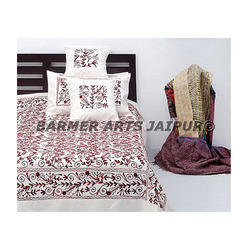 Cotton Aari Embroidery Bed Cover