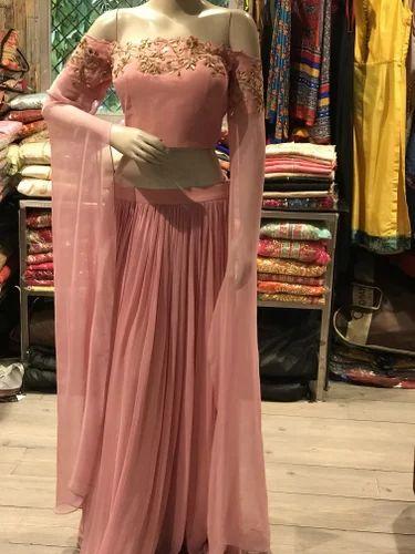 Cynosure By Gauri Georgette Off Shoulder Crop Top Skirt With Handwork, Size: Xl