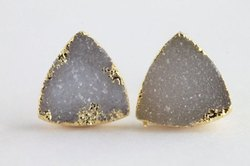 druzy triangle gold stud earring