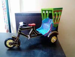 Wooden Hand Painted Rickshaw