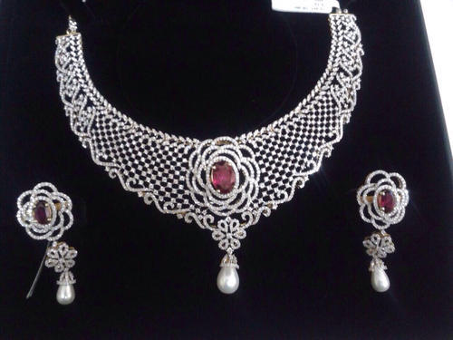 6ae2408733 Bridal Diamond Necklace Set at Rs 1200000 /piece | Diamond Necklace ...