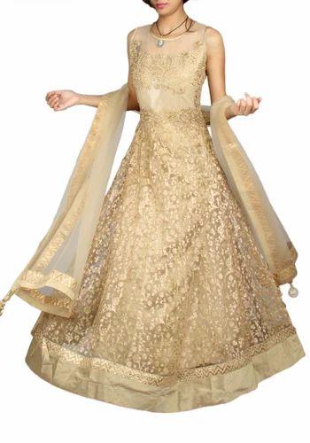 c133079b215a7 Designer Net Gold Wedding Anarkali Suit at Rs 12690