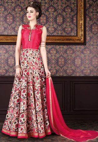 7eca46af7b Embroidered Art Silk Abaya Style Suit - Utsav Fashion, New Delhi ...
