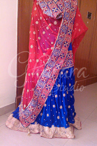 9a5ca93036f Royal Blue Satin Silk Gharara - View Specifications   Details of ...