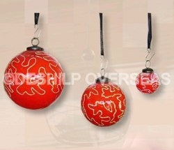 Red Hand Painted Christmas Ornaments